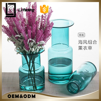 wholesale handmade brilliant blue glass vase crystal glass decoration creative table flower vase