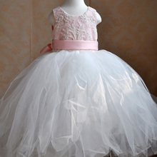 Pink Lace Flower Girl Ball Dress with Beads for Photography