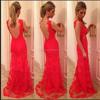 Red Full Lace Bare Back Formal Floor Length Custom Made Long Evening Party Wear Dresses Designs VE042 evening dress in china