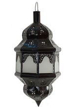 Moroccan handcrafted nickel and white glass chandelier