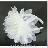 big beautiful lace flower Handmade Elastic Baby and Children lace pearl Headbands and Hair Accessories