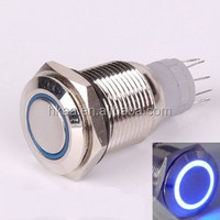 best selling 19mm 12V BLUE Led Angel Eye Push Button Metal ON-OFF Switch for Car Boats