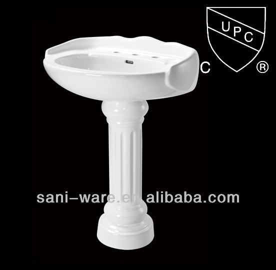 SN102 Antique style two piece porcelain basin with pedestal