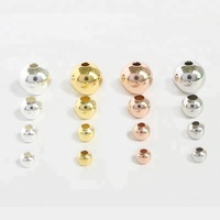 Fashion Round Ball Spacer Genuine 925 Sterling Silver Material Beads DIY Charms Jewelry Accessories Women