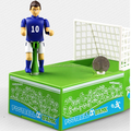 Custom design plastic wind up money box,design football footballer PVC coin bank,custom plastic money box