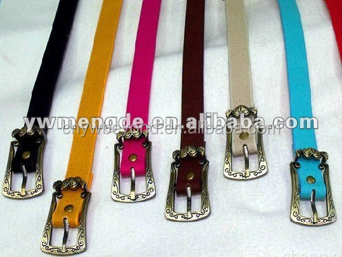 colorful western flower buckle pu belt for lady