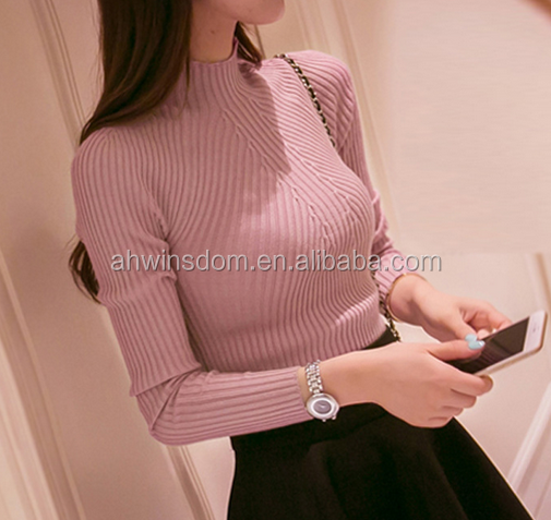 d60111b 2016 new ladies beautiful casual fashion sweater long sleeve pullover turtleneck tight sweater