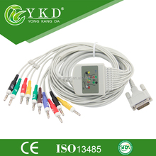 Schiller ECG cable with integrated 10 leadwires, 15 pin, for AT4, Banana4.00mm plug