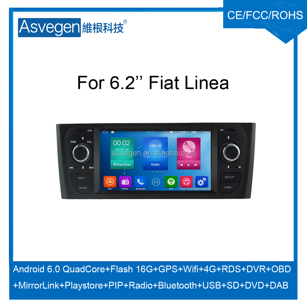Wholesale Android Car DVD Player for 6.2'' Fiat Linea Navigation Car DVD GPS Support Playstore,4G,WIFI