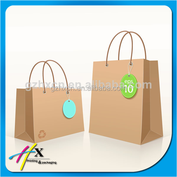 Recycled Brown Paper Shopping Bags with Handtag for Wholesale