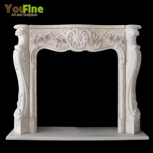 French Style Arched Carved Marble Fireplace Mantel Surround