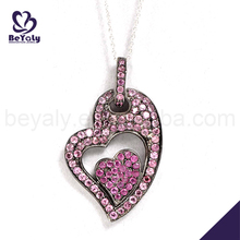 Fashion women cz heart design charms silver 925