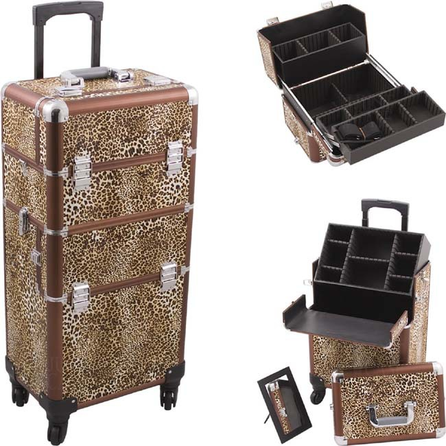 New PRO 4-Wheel Rolling Hairstylist Makeup Bag Case 2-in-1 with Telescoping Handle