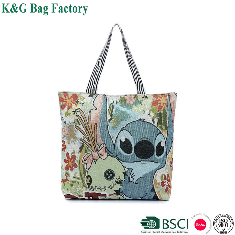 Fashion cartoon printing women shopping bag canvas tote bag