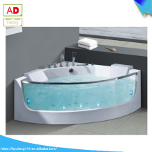 AD-625 Clear Glass Acrylic Corner Two Persons Whirlpool Massage Bathtub
