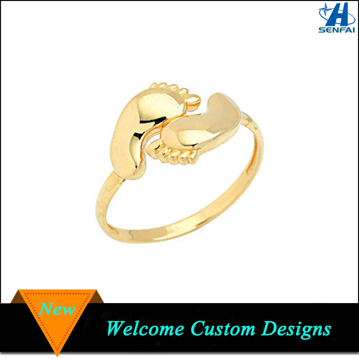New designs baby foot shape gold filled finger ring for promotion