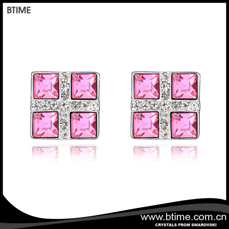 Square crystal stud earrings for fashion jewelry crystals from swarovski