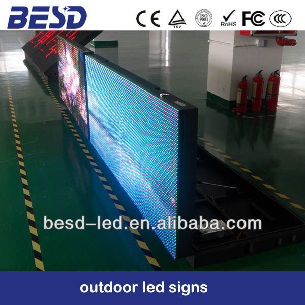 large LED double sided WIFI 3G waterproof Outdoor Usage colour full 10mm 16mm Pixels Programmable led <strong>signs</strong>