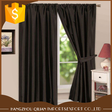 Black Polyester Plain Faux Silk Ring Top Curtains/Drape/Panels/treatment