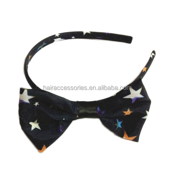 Unique girls' hair accessories,Black with star printing bowknot hairband