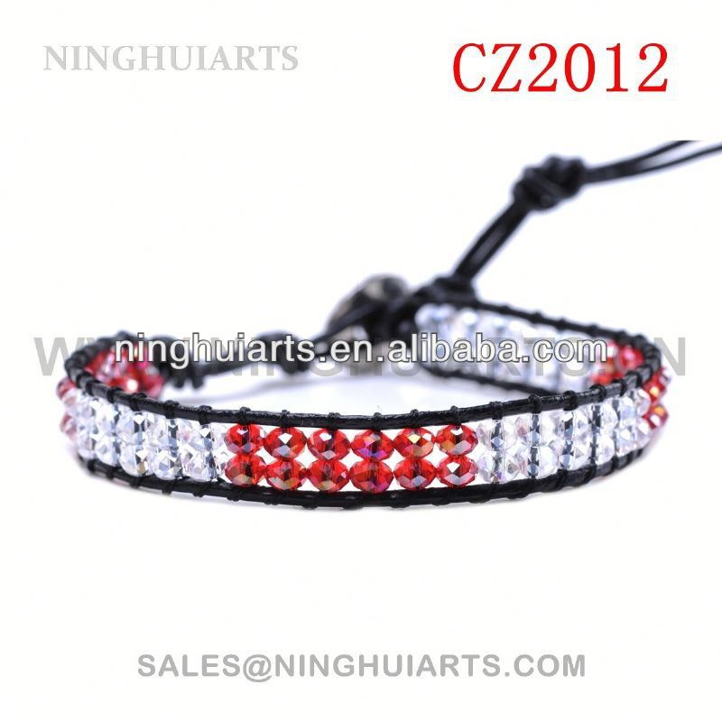 wooden bead rhinestone ankle leather cuff leather New Product bracelet
