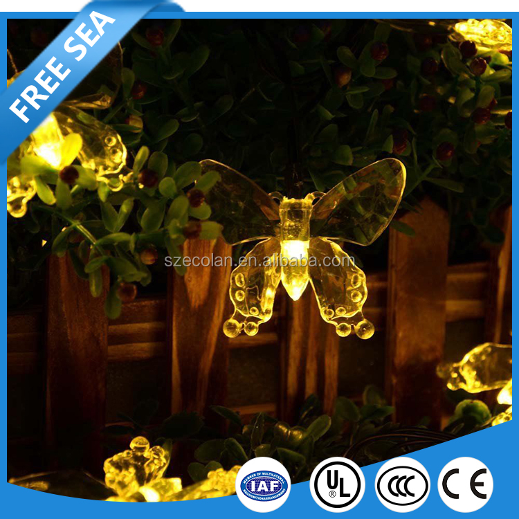 Butterfly Solar String Light 20 Led Colorful Lights Beautiful Animal