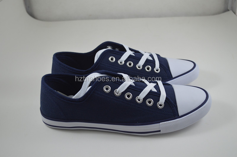 Navy blue 2016 canvas shoe men lace up sneaker wholesale low price