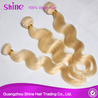 Hot selling double weft shedding free no tangle blonde #613 wholesale virgin eurasian hair weave