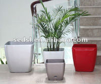 self watering colorful square flowers vase