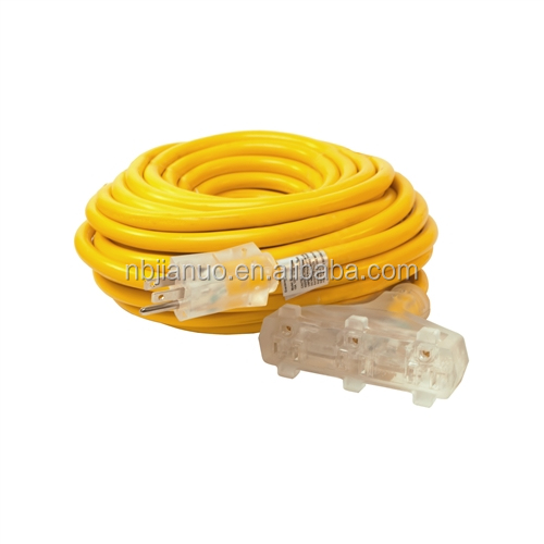 16/3 AWG UL listed 3 outlet 50 ft Extension cords with NEMA 5-15P male to NEMA 5-15R female