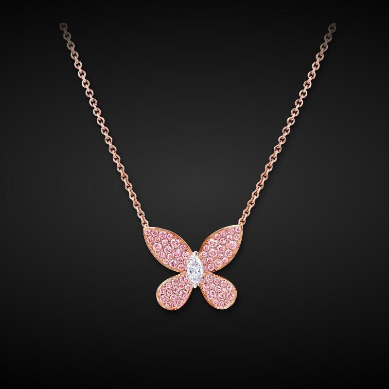pink butterfly pendant fashion accessories wholesale tennis chain cz necklace