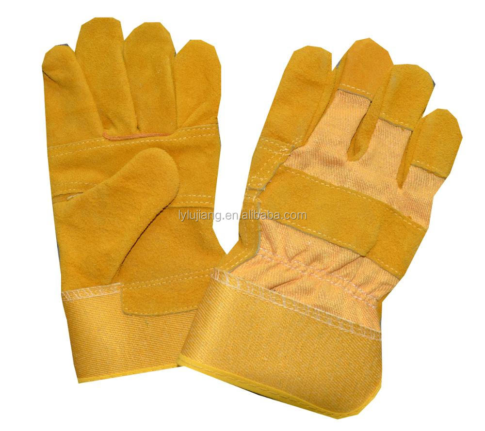 LUJAING SAFETY 10.5 Inch Cowhide Split Heavy Duty Industrial Safety Driver Working Leather Welding Gloves