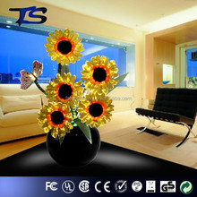 House interior decorative artificial optical fiber sunflowers with led light