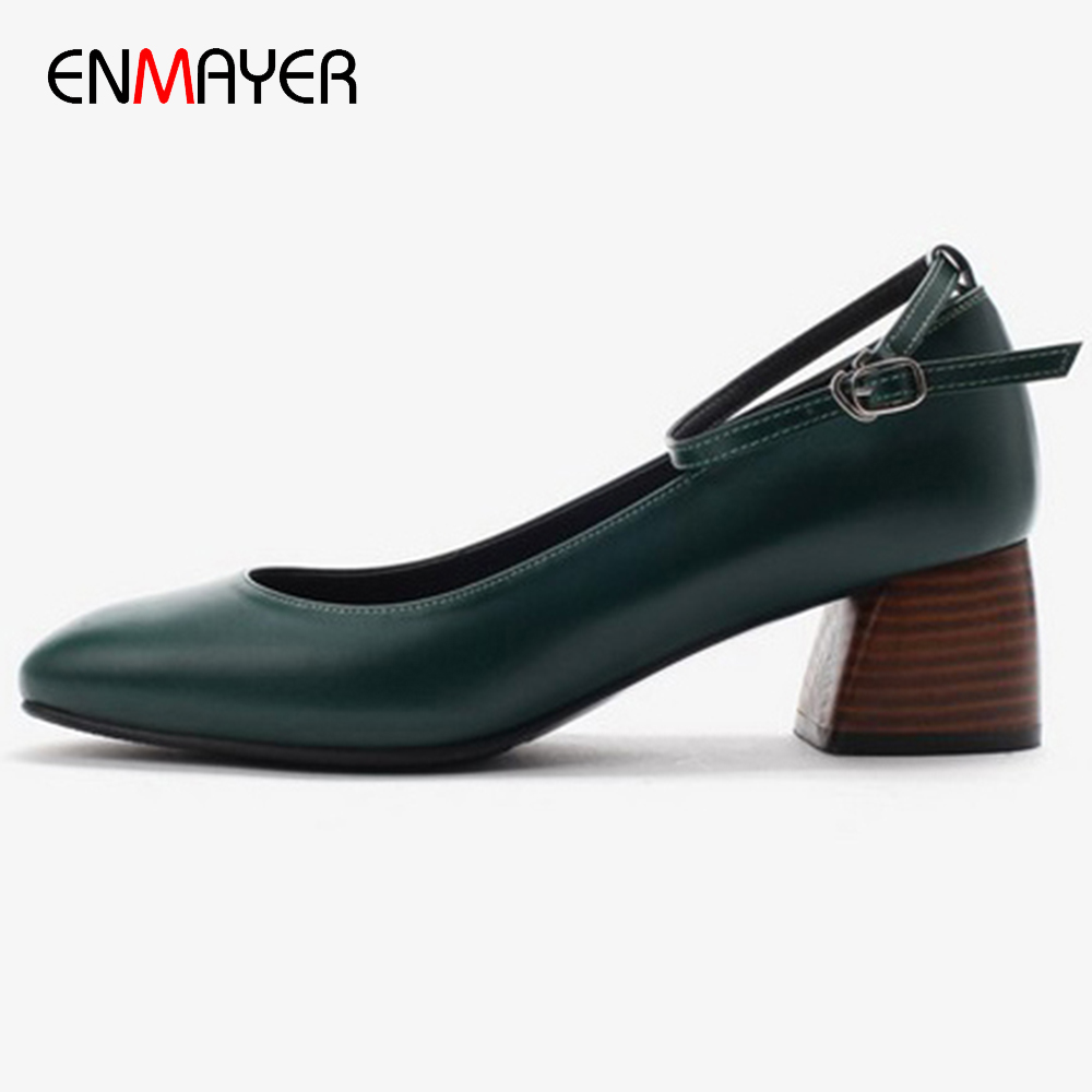 Hot sale 100% genuine cow leather upper mature lady fancy low square heel strap dress daily work shoes