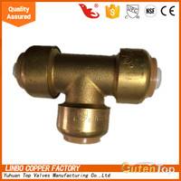 LB-GutenTop b2c online shopping lead free brass push fit fitting with Tee, 1-Inch made in china