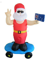 180cm/6ft tall polyester Christmas inflatable, Santa Claus playing snowboarding