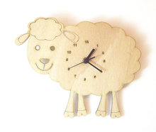 Wooden baby sheep wall clock for Bedroom