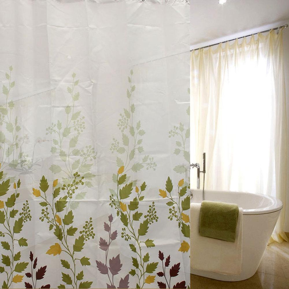 Waterproof green leaves printing shower curtain buy fabric window