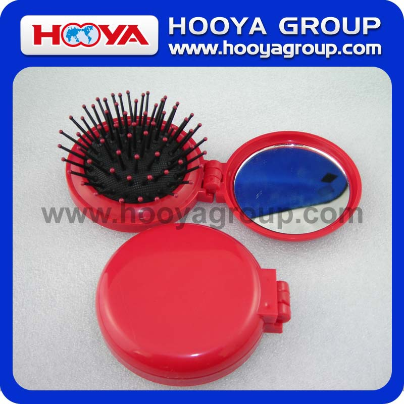 Round Comb With Folding Pocket Mirror