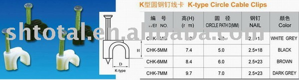 K type circle cable clip, cable clip for concrete, cable clip for telecommunication