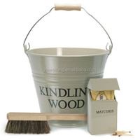 Fireplace metal Ash/Coal bucket with shovel and brush