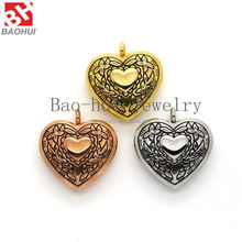 2016 Women Jewelry 30*27MM Heart Shape Stainless Steel Magnetic Open Retro Flower Memory Photo Locket Frame
