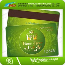 credit card size magnetic stripe card for club