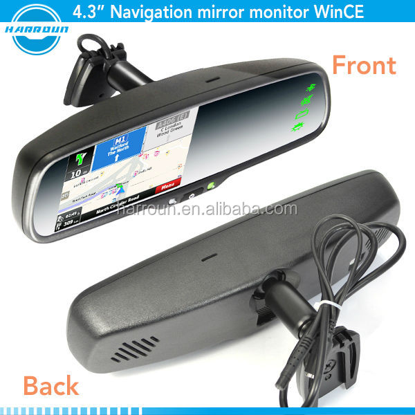 "4.3"" touch screen for mitsubishi garmin lcd gps rearview mirror gps navigator with cobra radar detector for used car dubai"