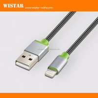 New product USB lighting cable, metal shell with cutton mesh for iphone