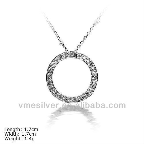 PZU-0952 925 Round Pendant with Stones Hot Sale Pendant Round Crystal Earring Circle Pendant