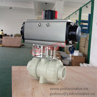 China made 2 way PPH pneumatic plastic air control valve by double union cinnection