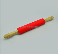 100% food grade silicone rolling pin with wooden handle