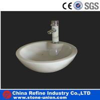 Polished White marble sink for bathroom , marble bathroom trough sink