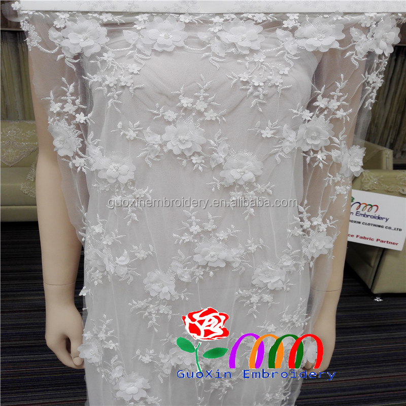 White Wedding bride 3D lace fabric -gipure lace fabric- Nylon mesh sewing white mini fabric flower with crystal centre